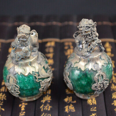 Exquisite Chinese Silver Dragon Inlaid Green Jade Hand Carved Pair Lion Statue