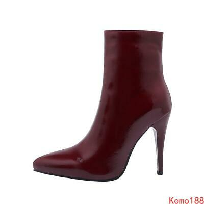 Sexy Womens shiny patent leather pointed toe side zip ankle Boots pumps shoes