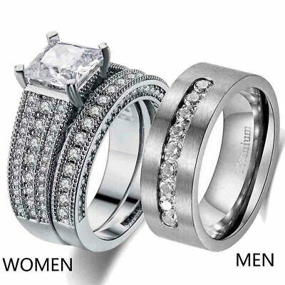 Couple Rings Cz Titanium Steel Mens Wedding Bands Womens Wedding Ring Sets