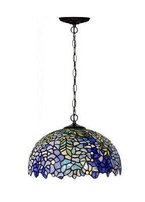 "Large 16"" Blue Wisteria Tiffany Stained Glass Shade Downlight Tiffany Pendant Li"