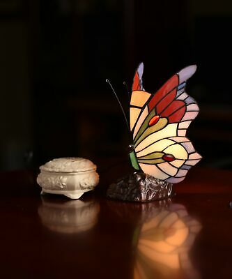 Colorful Cute Butterfly  Tiffany Leadlight Stained Glass Art Deco Table Lamp