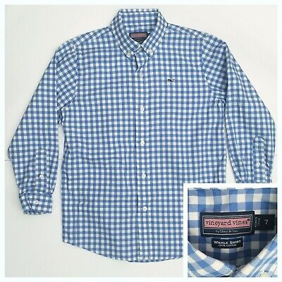 Vineyard Vines Boys Size 7 Long Sleeve Whale Shirt Blue Gingham Checkered