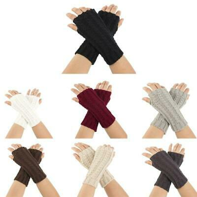 Womens Mens Chunky Braided Cable Knit Arm Warmers Thumb Hole Fingerless Gloves