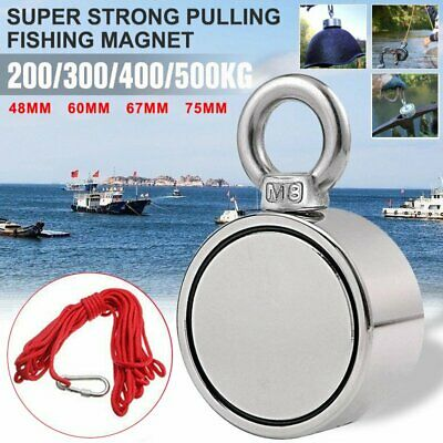500KG Double Side Recovery Strong Neodymium Magnet Fishing 10M Rope 2 Ring Tool