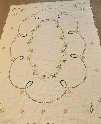 "Vintage Cross Stitch Embroidery Linen Tablecloth Orange Yellow Floral 48"" X 63"""