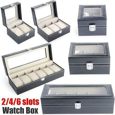 2/3/6 Slot Watch Display PU Leather Case Organizer Box Jewelry Holder Storage