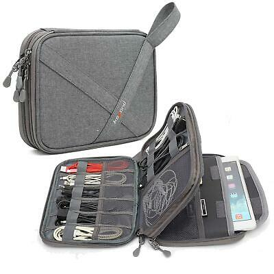 Electronics Accessories Carry Bag Cable Organiser Small Travel Case Storage Grey