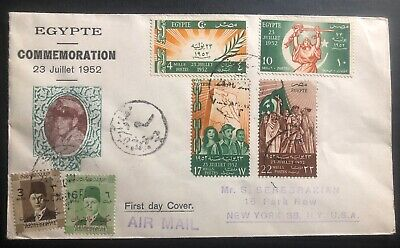 1952 Alexandria Egypt First Day Cover FDC Liberation Movement To New York USA