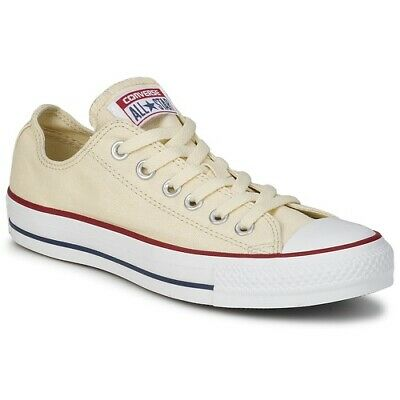 Womens Ladies Girls Kids Converse All Star Ox Trainers Shoes White Beige