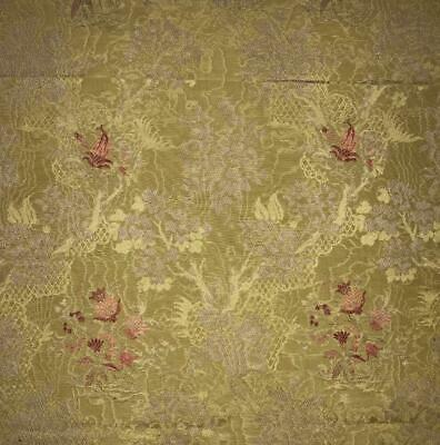 BEAUTIFUL PIECE 19th CENTURY FRENCH SILKY COTTON WATERED BROCADE 386