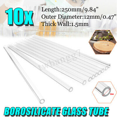 10Pcs 250mm x 12mm OD 1.5mm Borosilicate Glass Blowing Tube Blow Tubing Lab
