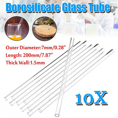 10Pcs 200x7x1.5mm Thick Wall Borosilicate Glass Pyrex Lab Blowing Tube