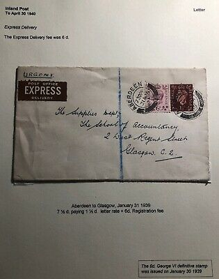 1939 Aberdeen Scotland England Express Delivery Cover To Glasgow