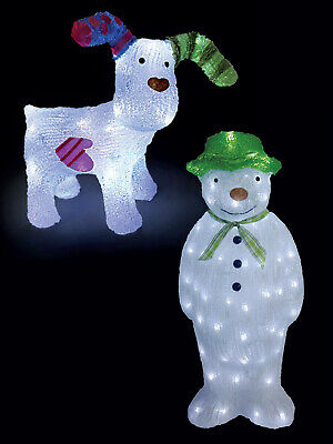 """The Snowman + Snowdog"" Acrylic Light Up LED Indoor OUtdoor Garden Decoration"