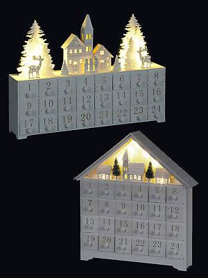 White Wooden LED Advent Calendar Light Up Pre Lit Traditional Adult Christmas