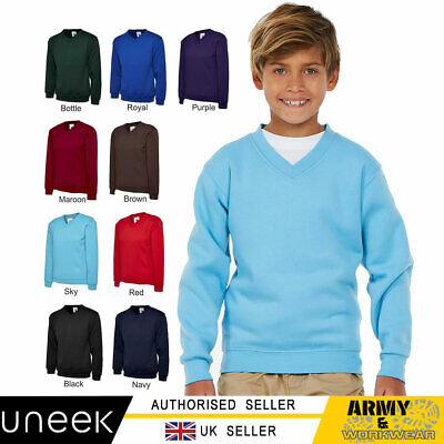 Childrens School V Neck Plain Sweatshirt Unisex Kids Casual Jumper Boys Girls