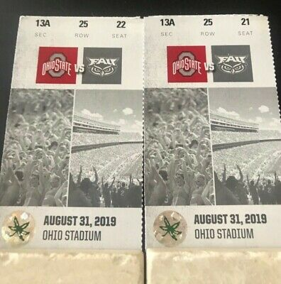 2 Ohio State vs. Florida Atlantic Football Tickets w/seatbacks  Section13ARow25