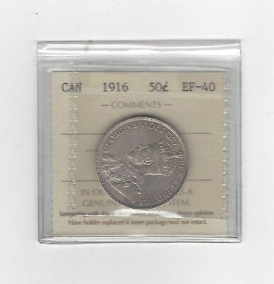 **1916**, ICCS Graded Canadian, 50 Cent, **EF-40**