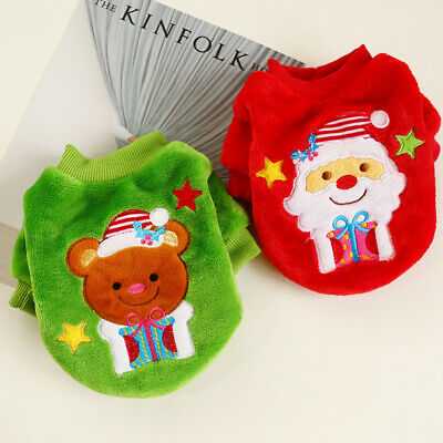 Warm Pet Christmas Dog Sweater Cat Hoodie Winter Puppy Clothes Xmas Costume Cute