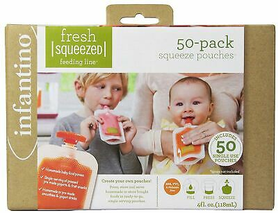 Infantino 50 PACK SQUEEZE POUCHES Baby Child Infant Feeding BN