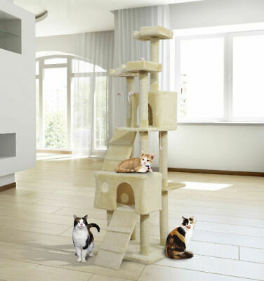 Extra Tall Cat Furniture Kitten Tree House High Scratching Post Climbing Bed Toy