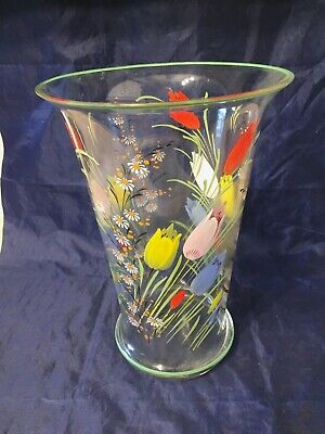 Beautiful LARGE Art Deco 1930's Hand Painted Vase Tulips Daisy Green Band