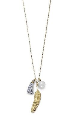 """14K GP over Sterling Silver 16"""" + Necklace w 8mm Glass Pearl Tassel Feather"""