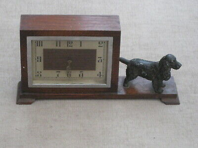 German 1930s ? mantle clock with cocker spaniel for spares or repair