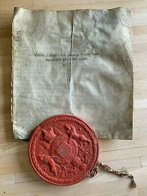 """ANTIQUE INDENTURE WAX SEAL """"THE GREAT SEAL OF SCOTLAND"""" c1832 SIGNED EDINBURGH"""