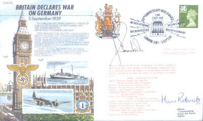 JS50 39/1 RAF Britain declares war cover on Germany signed WWII US ace GOODSON