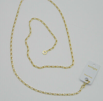 Collier Chaine Maille Figaro 50Cm Plaque Or Neuf