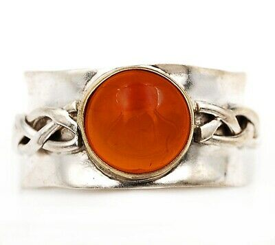 Two Tone- Carnelian 925 Solid Sterling Silver Ring Jewelry Sz 9.5, C18-7