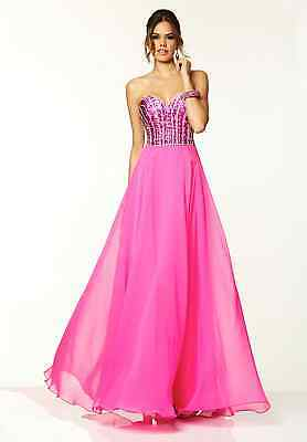 Sexy Strapless Hot Pink Beaded Chiffon Evening Gown Dress 6-16 Paparazzi 97037