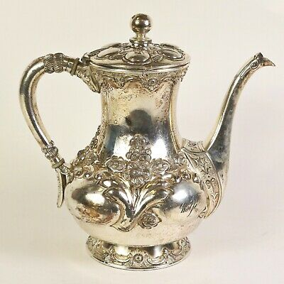 Antique Silverplate Wilcox Coffee/Tea Pot with Flowers Floral