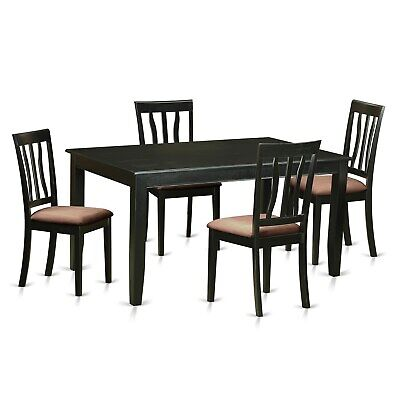DUAN5-BLK  5 PC Table and chair set for 4- Table and 4 Black 5-Piece Sets