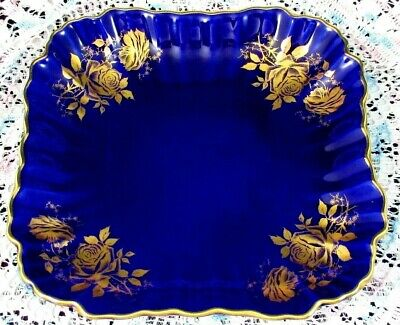 Old Foley James Kent Cobalt Blue Gold Gilt Roses Square Serving Dish Bowl