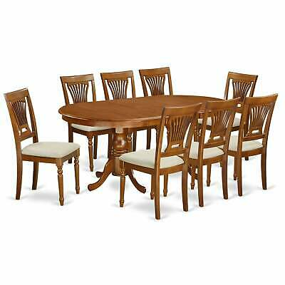 PLAI9-SBR  9 PC Dining  set-Dining Table and 8 Chairs for Saddle Brown 9-Piece S
