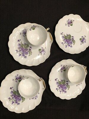 Vintage Napco Snack/Luncheon Plates Cups Seashell Shaped Plates Violet Flowers
