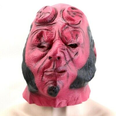 Hellboy Mask Cosplay Movie Halloween Prop Horror Rise Blood Latex Costume Party