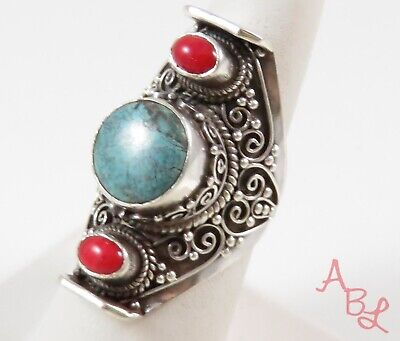 Sterling Silver Vintage 925 Scroll Turquoise & Coral Ring Sz 8.5 (18.7g) -774036