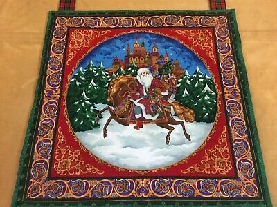 Christmas Quilt Wall Hanging, Old Fashioned Santa Claus On Horse, Trees, Castle