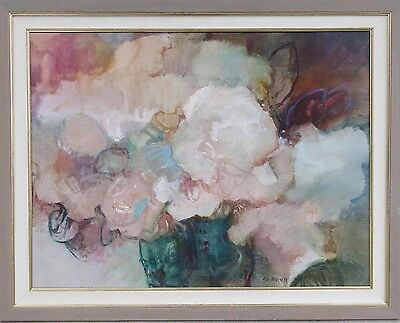 "Flo Barnett California 42"" Abstract Modernist Floral Oil Painting Expressionism"