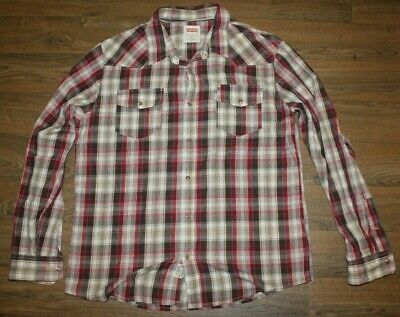 Levis Western Shirt Pearl Snap Plaid Button Down Long Sleeve Men's XL