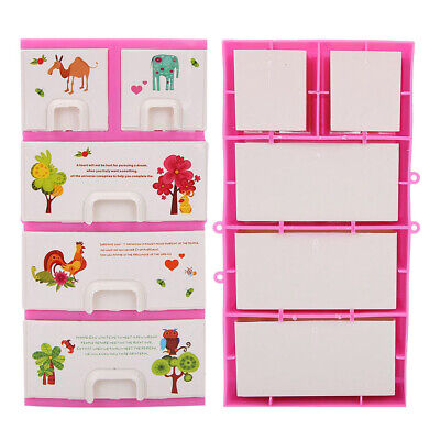 Doll House Cartoon Printing Closet Bedroom Furniture Doll Accessories Girls Toys