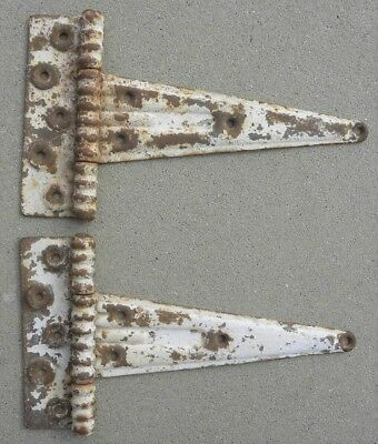 2 Vintage Very Large Heavy Duty T-Hinges, Barn, Shed, Cabin Door, Old Paint