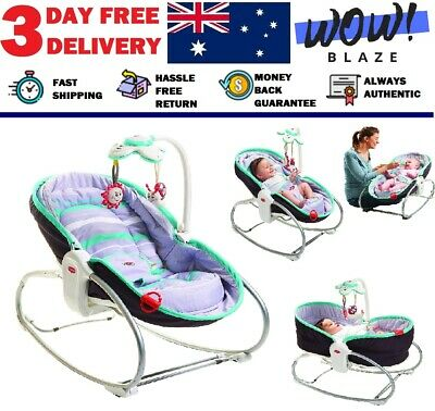 TINY LOVE Baby 3 in 1 Rocker Napper, Turquoise/Grey Free 3 day delivery NEW