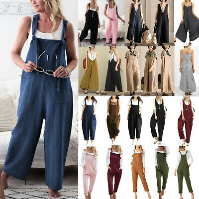 Women Dungarees Overall Playsuit Jumpsuit Wide Leg Romper Harem Pants Plus Size