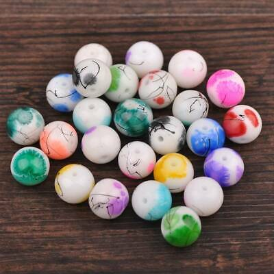 20pcs 10mm Round Spots Coated Opaque Glass Loose Beads Jewelry Mixed Random New