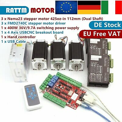 IT|3 Axis USB CNC Controller Kit NEMA23 425Oz-in/280Ncm Dual shaft stepper motor