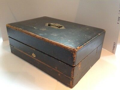 An antique leather and brass campaign monogrammed writing box Chubb & Son 1800's